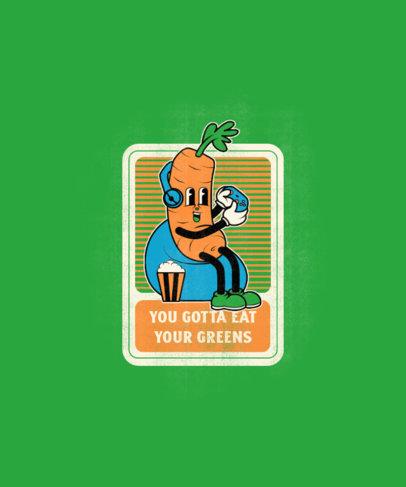 T-Shirt Design Generator Featuring a Cartoon of a Carrot Playing Video Games 3410e