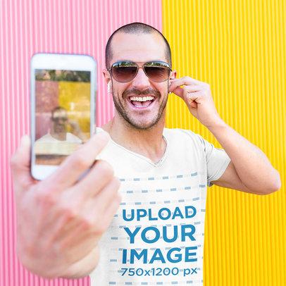 V-Neck Tee Mockup of a Smiling Man Taking a Selfie 43733-r-el2