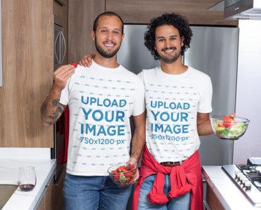 T-Shirt Mockup of Two Men Having an Indoor Date M1062