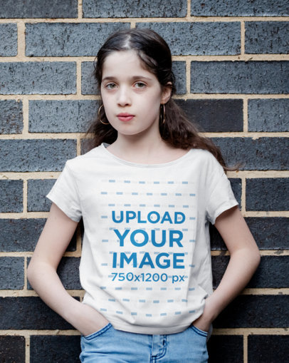 T-Shirt Mockup of a Young Girl Posing with Her Hand In Her Pockets 40900-r-el2