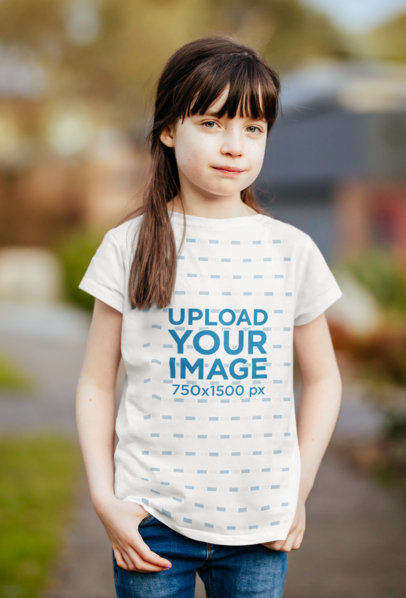 T-Shirt Mockup Featuring a Girl Against a Blurry Background 40901-r-el2