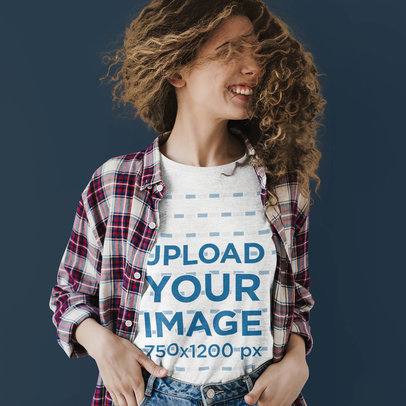 T-Shirt Mockup of a Woman Shaking Her Curly Mane 46111-r-el2
