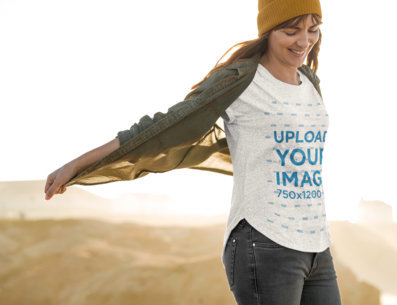 Round-Neck Tee Mockup Featuring a Woman at the Top of a Cliff 44385-r-el2