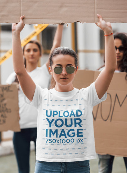 Mockup of a Woman with a T-Shirt at a Feminist Protest 46677-r-el2