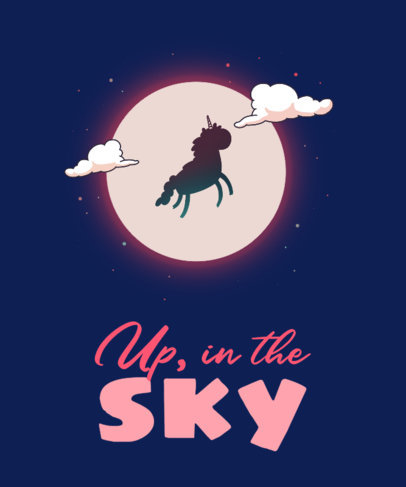 T-Shirt Design Template with a Flying Unicorn Illustration 3317e