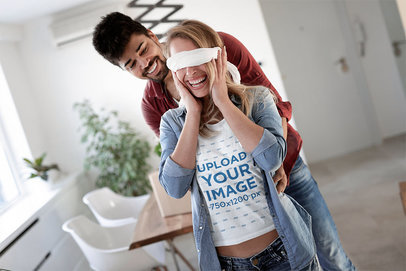 T-Shirt Mockup Featuring a Blindfolded Woman About to be Surprised 46490-r-el2