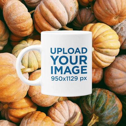 11 oz Coffee Mug Mockup Featuring a Customizable Fall-Themed Background m1107