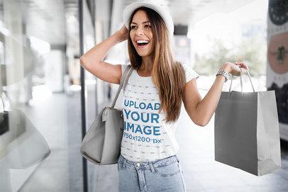 T-Shirt Mockup Featuring a Happy Woman Shopping 43038-r-el2