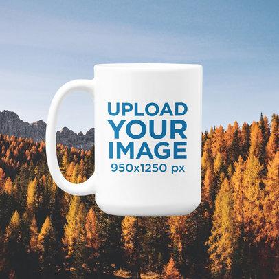 15 oz Coffee Mug Mockup Featuring an Autumn-Themed Background m1108