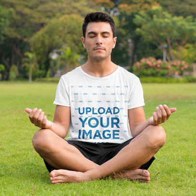 T-Shirt Mockup of a Man Meditating at a Park 42994-r-el2
