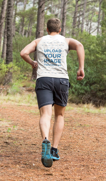 Back-View Tank Top Mockup of a Man Running in Nature 46933-r-el2