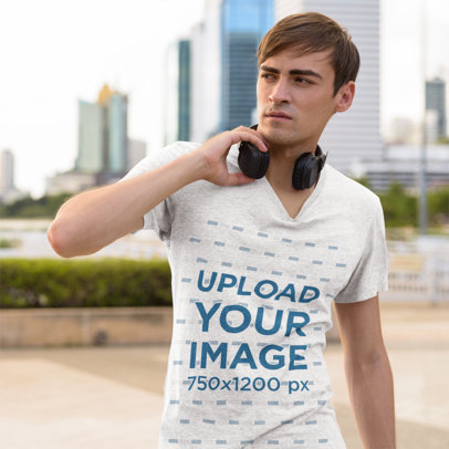 Heathered T-Shirt Mockup of a Man with Headphones on the Street 46701-r-el2