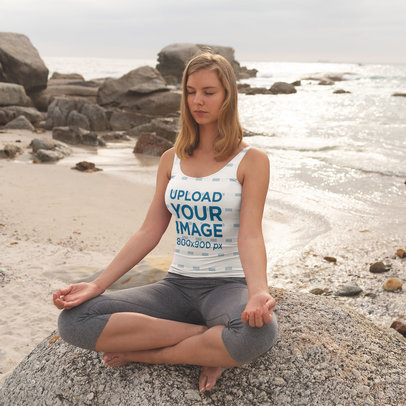 Sublimated Tank Top Mockup of a Woman Meditating at the Beach 46807-r-el2