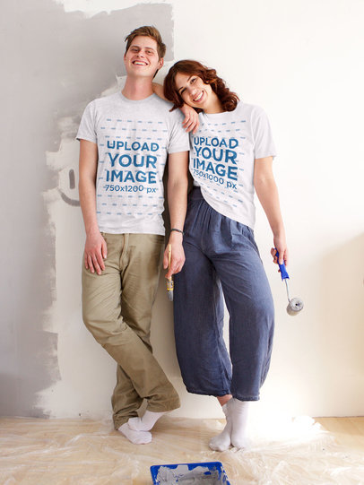 T-Shirt Mockup of a Young Couple Painting a Wall Together 46782-r-el2