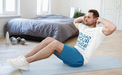 T-Shirt Mockup of a Man Doing Abs Crunches in His Room 46690-r-el2