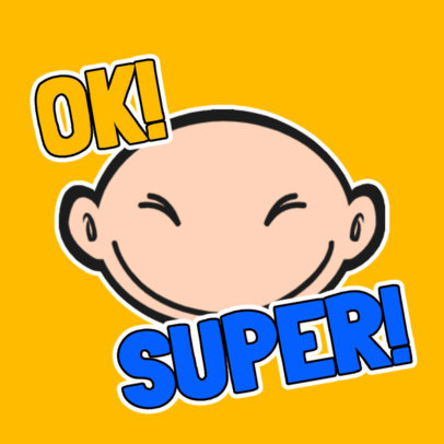 Sticker Design Template Featuring a Funny Bald Character's Expressions 3440-el1