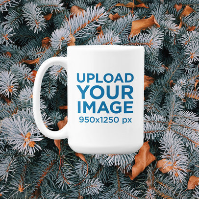 15 oz Coffee Mug Mockup with a Customizable Winter Background m1288
