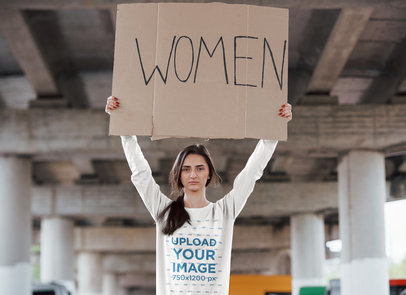 Sweatshirt Mockup of a Woman Holding a Sign with a Feminist Message 46749-r-el2