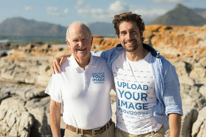 Polo Shirt and T-Shirt Mockup of Father and Son at the Beach 44258-r-el2