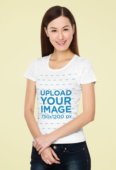 T-Shirt Mockup of a Straight-Haired Woman with a Plain Background 46712-r-el2