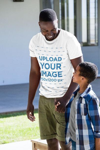 T-Shirt Mockup of a Happy Man with His Son 40619-r-el2