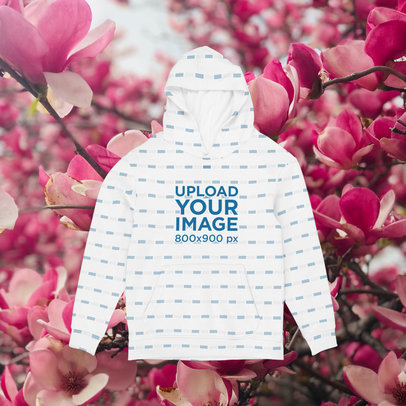 Sublimated Hoodie Mock up Featuring a Spring-Themed Background m1420