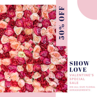 Valentine's Day Instagram Post Design Maker for Flower Shops 3436-el1
