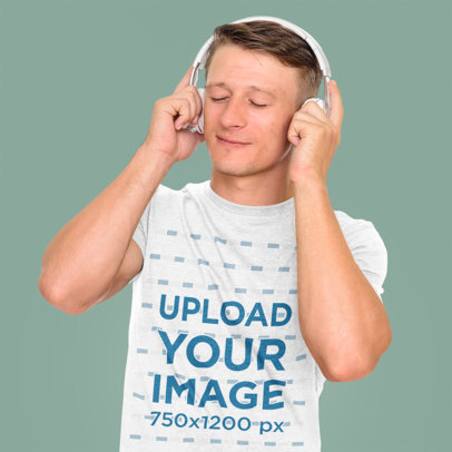 T-Shirt Mockup Featuring a Man Listening to Music in a Studio 46744-r-el2