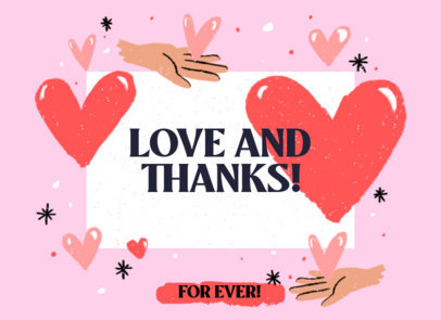 Greeting Card Design Template with Hearts and a Lovely Message 3350a
