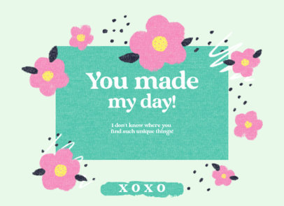 Greeting Card Design Template with Graphics of Flowers 3350e