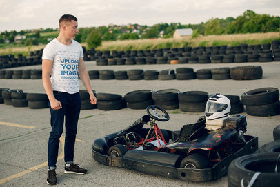 T-Shirt Mockup of a Man About to Drive a Go-Kart 43173-r-el2