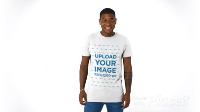 Basic T-Shirt Video Featuring a Happy Man With an Arm Tattoo 43746a