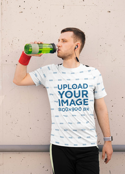 Sublimated T-Shirt Mockup of a Man Drinking Water 40598-r-el2