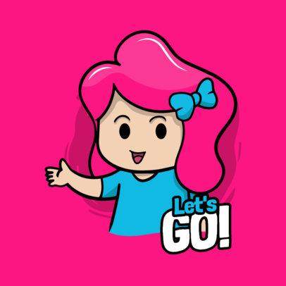 Cartoonish Sticker Design Template Featuring a Female Character 3442e-el1