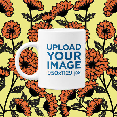 11 oz Coffee Mug Mockup Featuring a Floral Background m1417