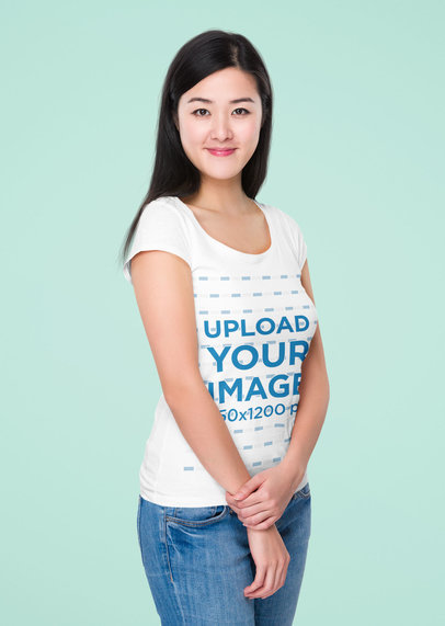 Simple T-Shirt Mockup of a Straight-Haired Woman in a Studio 46736-r-el2