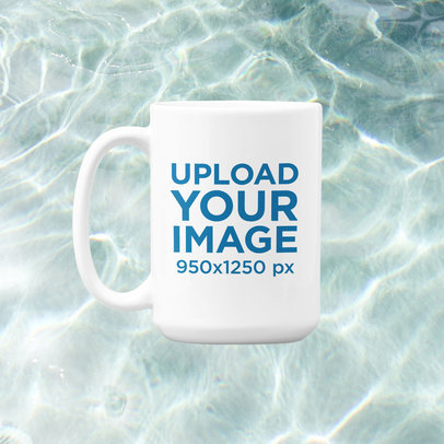 15 oz Coffee Mug Mockup Featuring a Summer-Season Background m1498