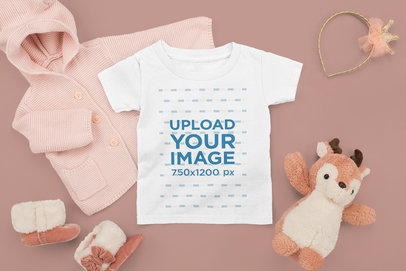 T-Shirt Mockup Featuring a Baby Girl's Outfit m1145