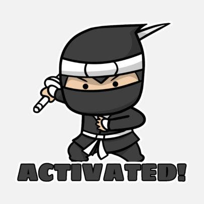 Sticker Design Creator with a Chibi Ninja Clipart 3444b-el1