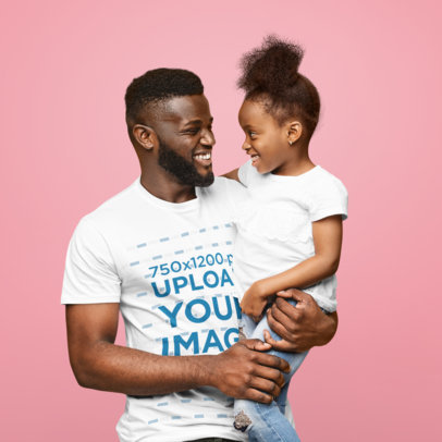 T-Shirt Mockup of a Happy Dad Carrying His Daughter at a Studio 46088-r-el2