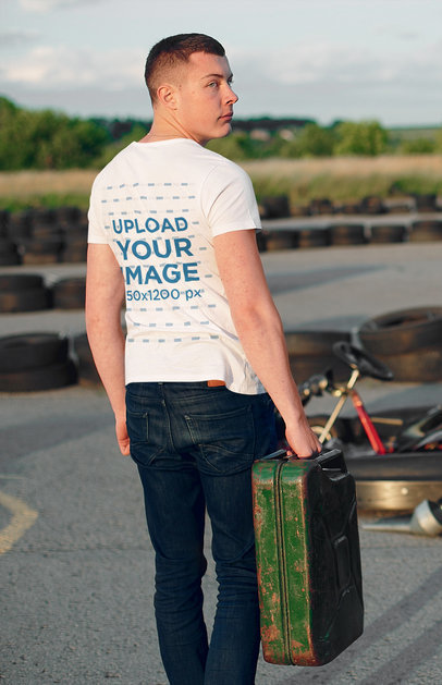 Back View T-Shirt Mockup of a Serious Man at a Go Kart Speedway 43175-r-el2
