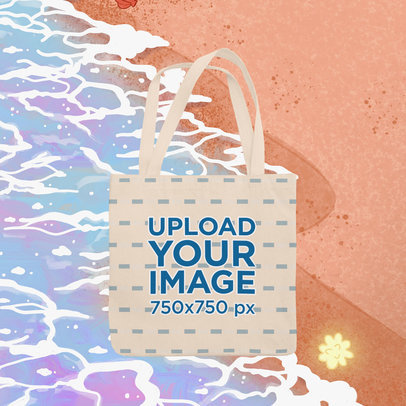 Tote Bag Mockup Featuring an Illustrated Summer Background m1502