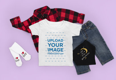T-Shirt Mockup Featuring a Toddler's Outfit m1153