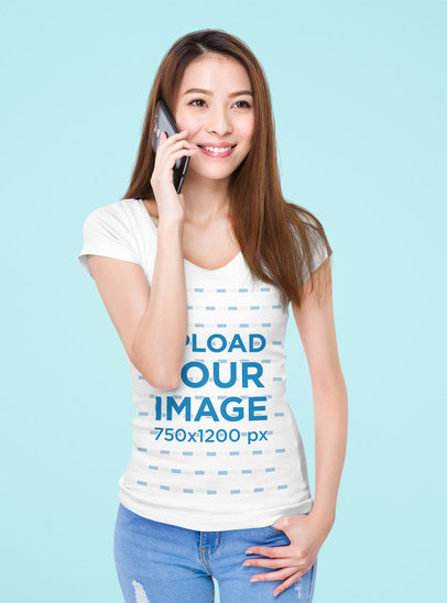 Deep V-Neck Tee Mockup Featuring a Woman on the Phone 46759-r-el2
