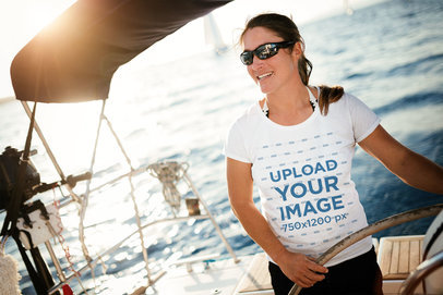 T-Shirt Mockup Featuring a Woman With Sunglasses on a Fishing Boat 40629-r-el2