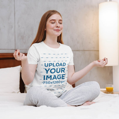 T-Shirt Mockup of a Red-Haired Woman Meditating in Her Bedroom 40308-r-el2