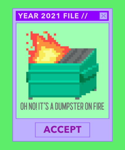 Absurdist Humor T-Shirt Design Template with a Illustrated Dumpster on Fire 3355f