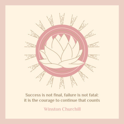 Instagram Post Design Generator Featuring a Lotus Flower Clipart and a Quote 3341h
