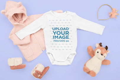 Baby Onesie Mockup Featuring a Little Girl's Winter Outfit m1143