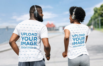 Back View Mockup of a Man and a Woman Wearing T-Shirts and Running by a River 40077-r-el2